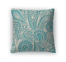 Throw Pillow, White Lace Pattern On Blue Teal