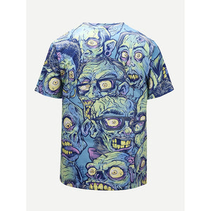 Men Abstract Skull Print Tee