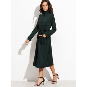 Dark Green Stand Collar Belted Utility Trench Coat