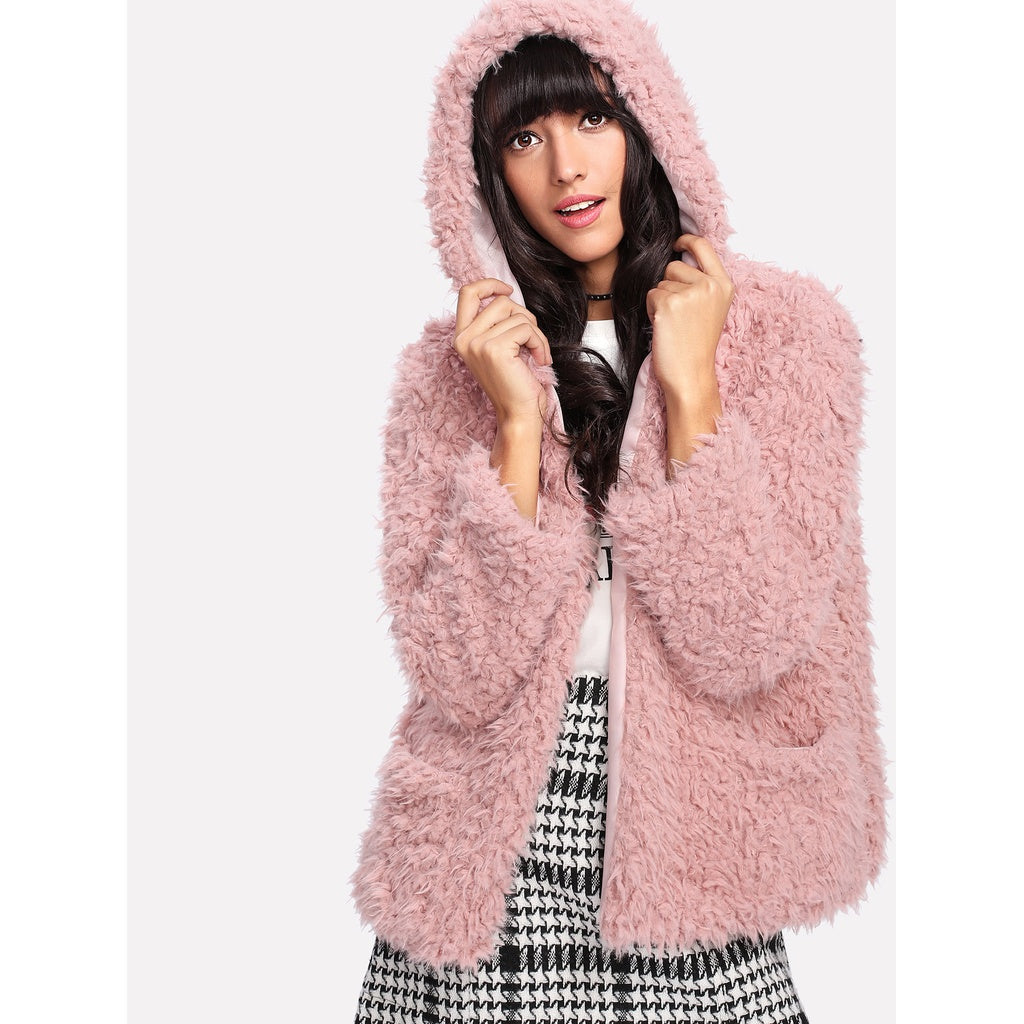 Faux Fur Open Front Hooded Coat