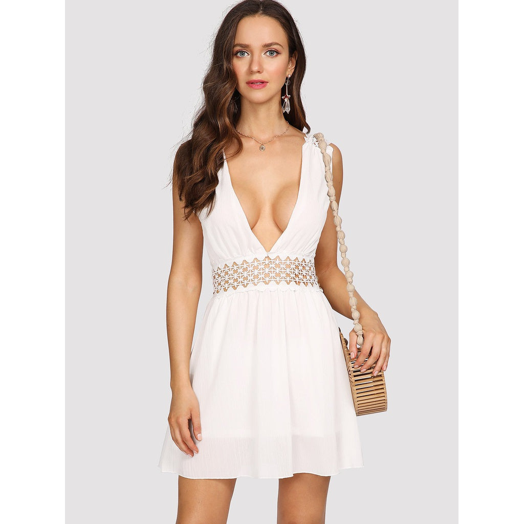 Deep V Neck Hollow Out Waist Dress