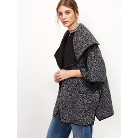 Shawl Collar Slit Side Binding Cape Coat