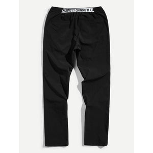Men Letter Waist Slant Pocket Pants