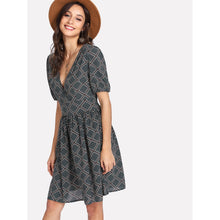 Tied Back Geo Print Dress