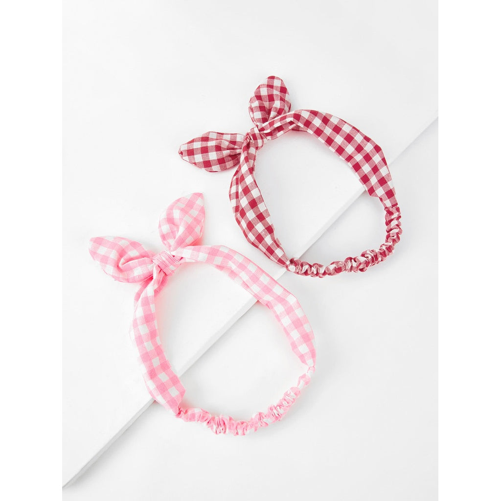 Knotted Bow Gingham Headband 2pcs