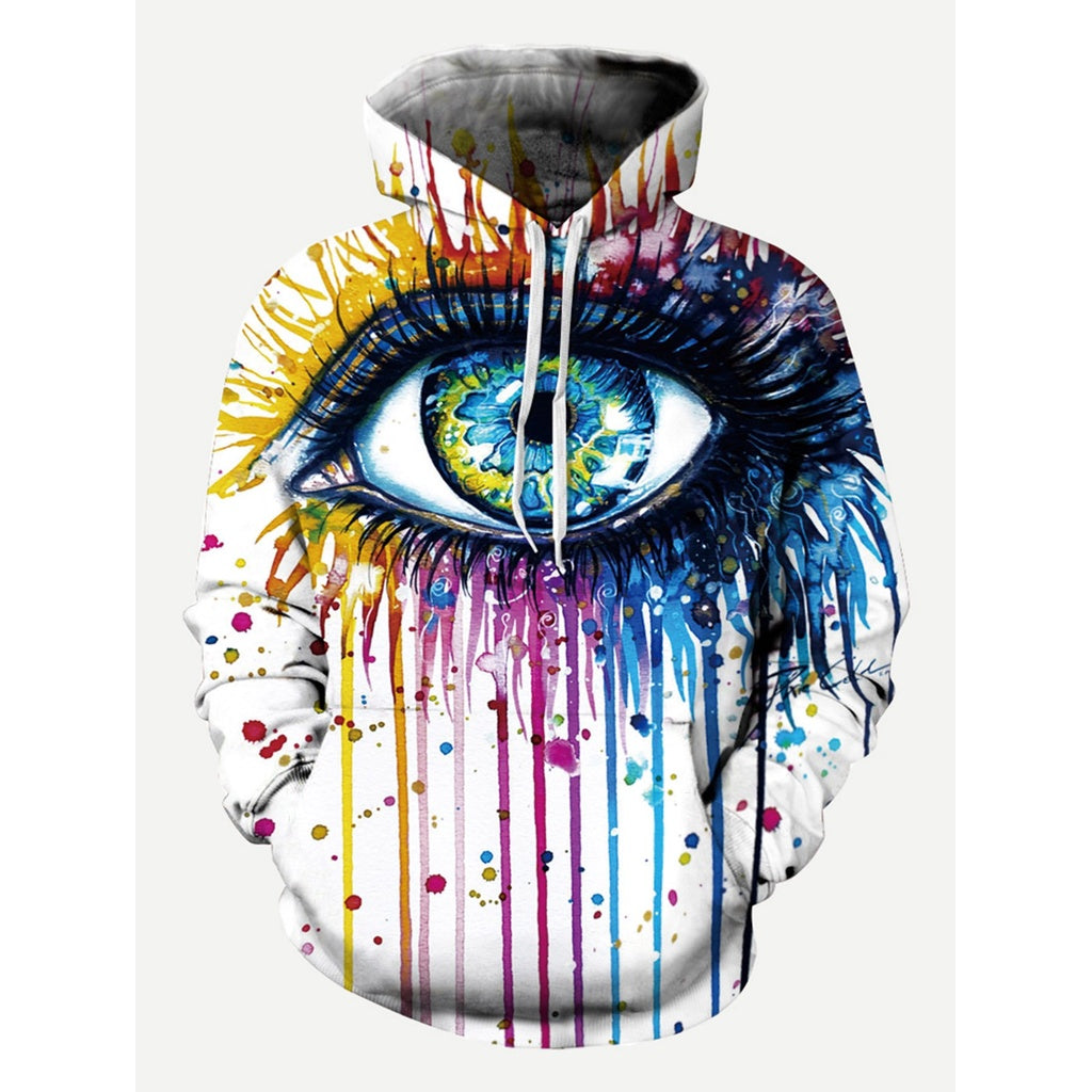 Men Eye And Paint Drip Print Hooded Sweatshirt