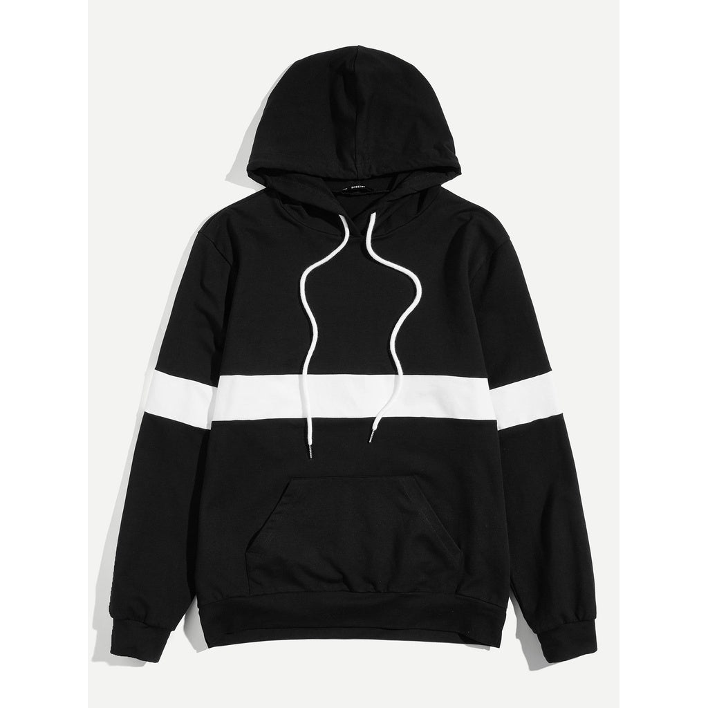 Men Pocket Front Cut and Sew Hooded