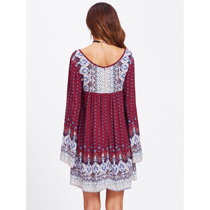 Mixed Print Tie Neck Peasant Dress