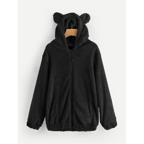 Faux Shearling Hooded Bear Coat