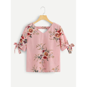 V Neckline Knot Cuff Floral Blouse