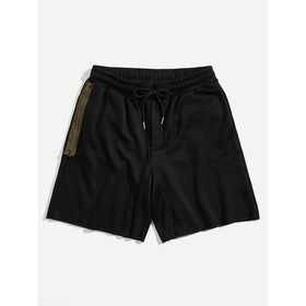 Men Zipper Side Drawstring Shorts