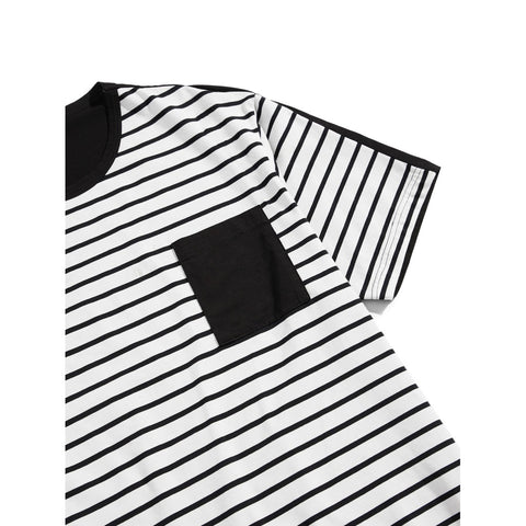 Men Pocket Front Two Tone Striped T-shirt