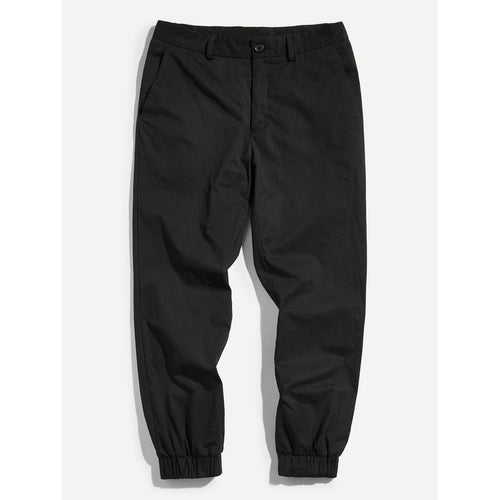 Men Button Fly Elastic Hem Pants