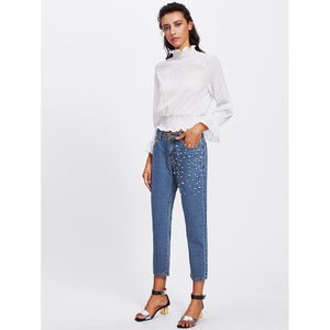 Pearl Beading Mid Wash Mom Jeans