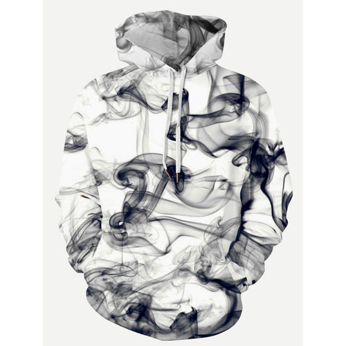 Men 3D Abstract Smoke Print Hooded Sweatshirt