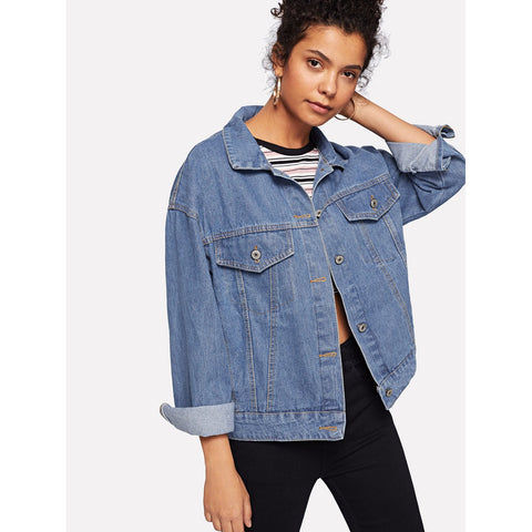 Figure And Letter Print Denim Jacket