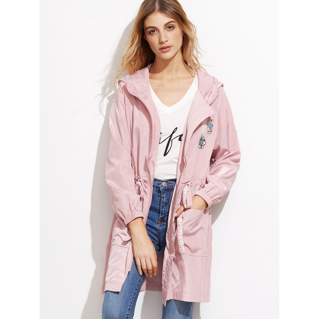 Pink Letter Print Drawstring Hooded Trench Coat With Pockets