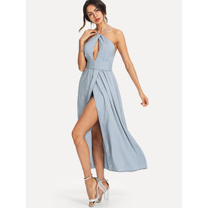 Tie Back Split Side Backless Halter Dress