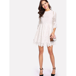 Flounce Sleeve Lace Dress