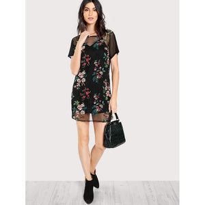 Flower Embroidery Sheer Mesh Dress without Cami