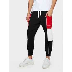 Men Colorblock Drawstring Waist Pants