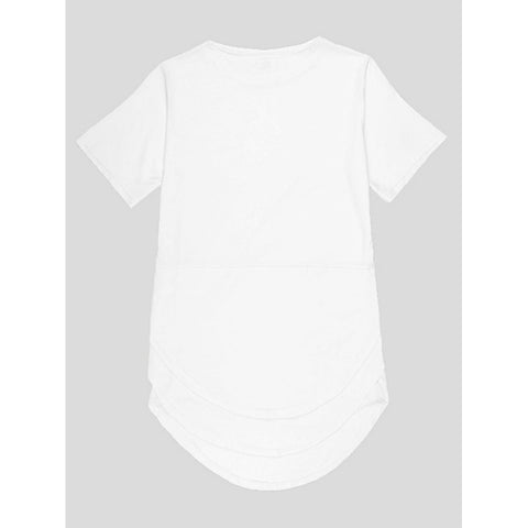 Men Zip Side Curved Hem Tee