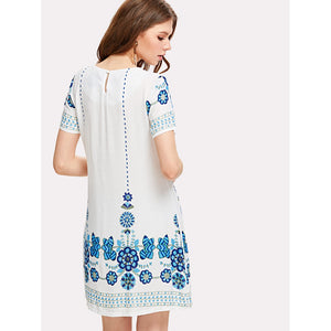 Tribal Floral Print Tunic Dress