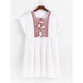 Geo Embroidered Pom Pom Detail Babydoll Dress