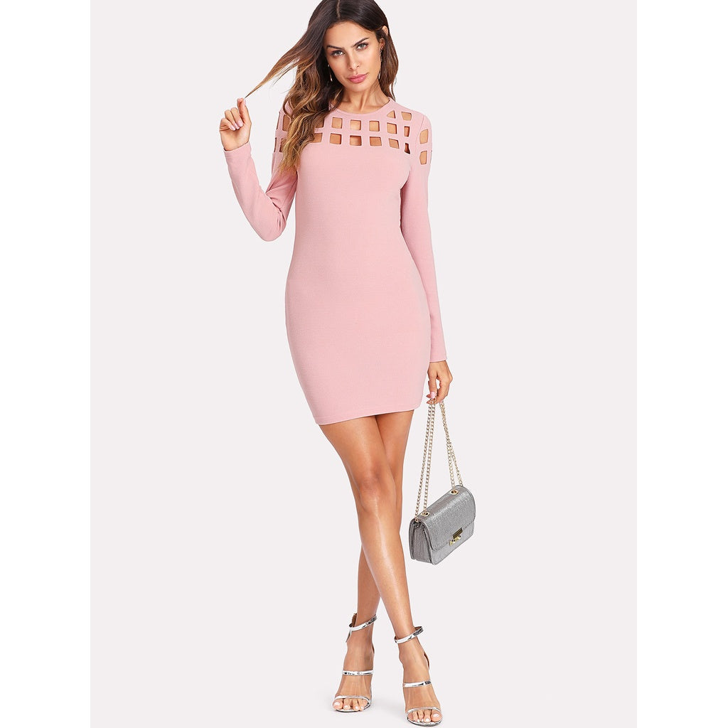 Geo Cut Yoke Form Fitting Dress