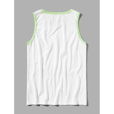 Men Mixed Print Tank Top