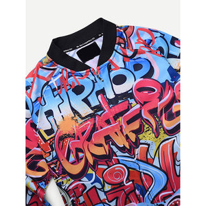 Men Abstract Letter Print Jacket