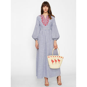 Lantern Sleeve Embroidered Striped Dress