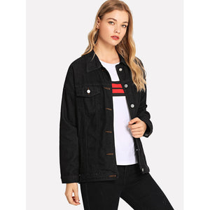 Solid Button Front Denim Jacket
