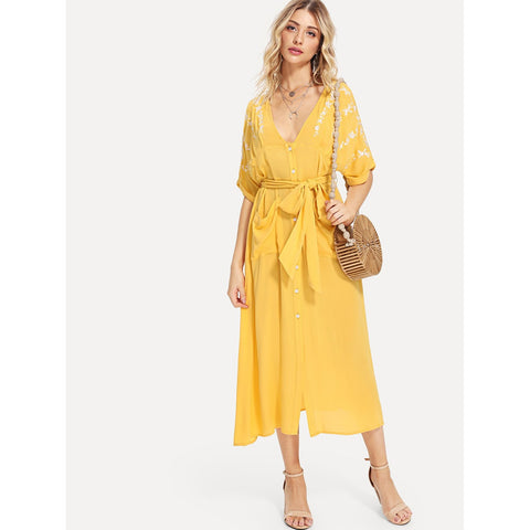 Plunging Neck Embroidered Button Up Belted Dress