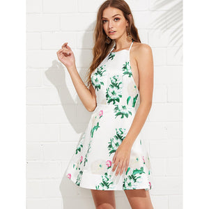 Floral Print Fit & Flare Halter Dress