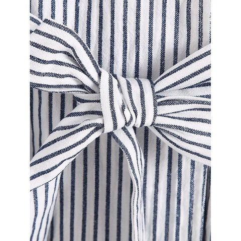 Vertical-Striped Self Tie Coat