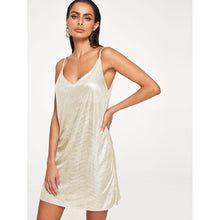 V Neck Metallic Cami Dress