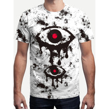 Men Eye Print Ink Splatter Tee