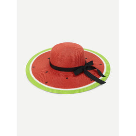 Watermelon Pattern Straw Hat With Knot
