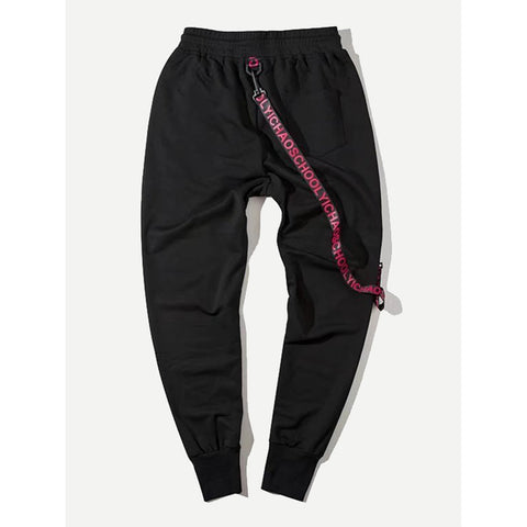 Men Zip Ribbon Drawstring Pants