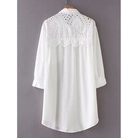 Eyelet Embroidered Shirt Dress