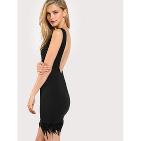 Feather Hem Backless Dress