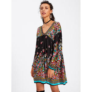 Drop Shoulder Florals Dress