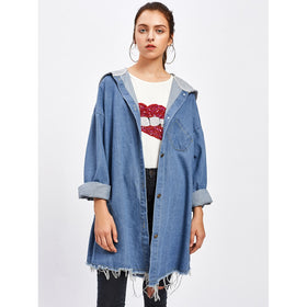 Drop Shoulder Frayed Contrast Hooded Denim Jacket