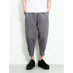 Men Drawstring Close Skinny Foot Pants