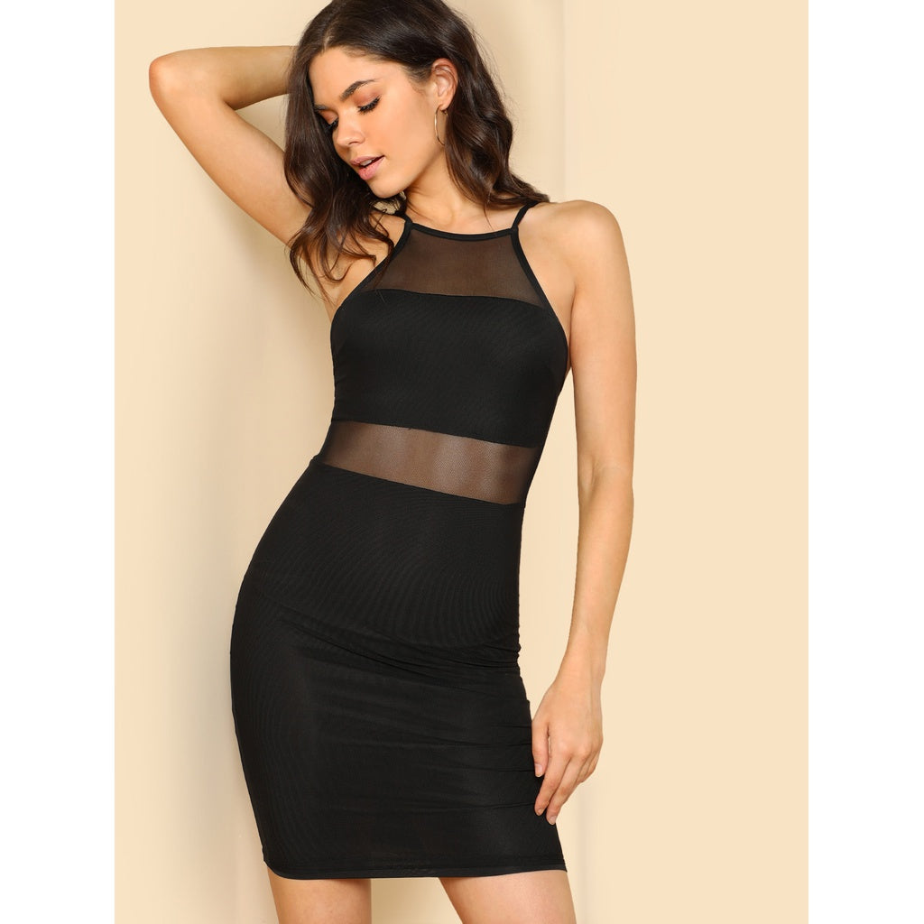 Slip Backless Mesh Pencil Dress