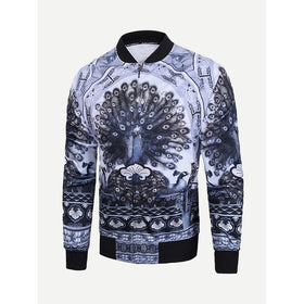 Men Peacock Print Jacket