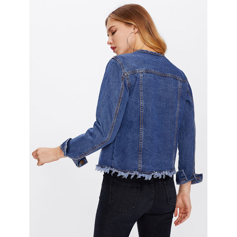 Frayed Hem Pocket Front Denim Jacket