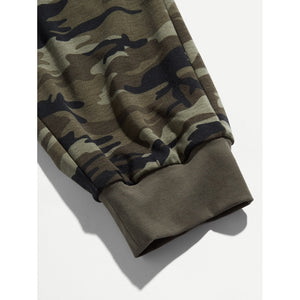 Men Zip Pocket Camo Drawstring Pants