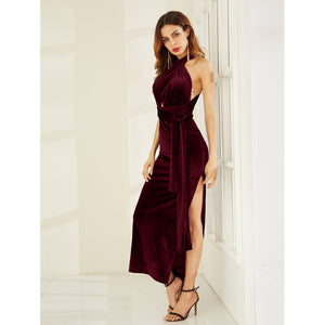 High Slit Velvet Convertible Dress